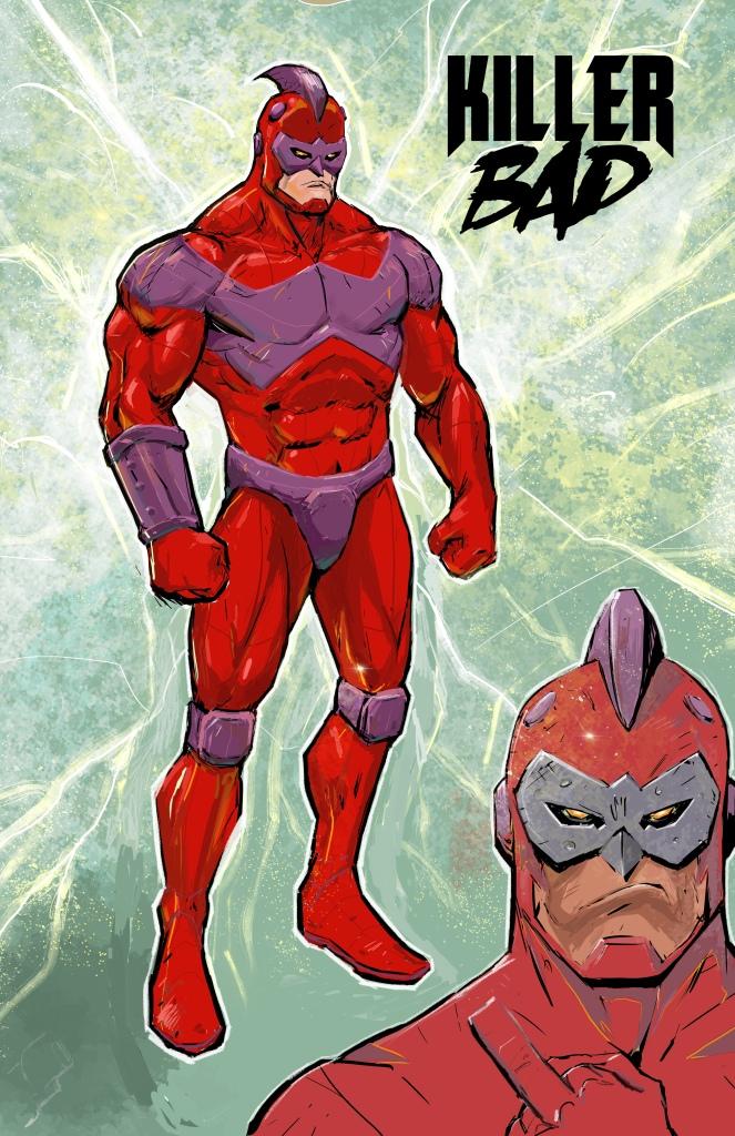 Promotional character design image for KILLER BAD comic book.